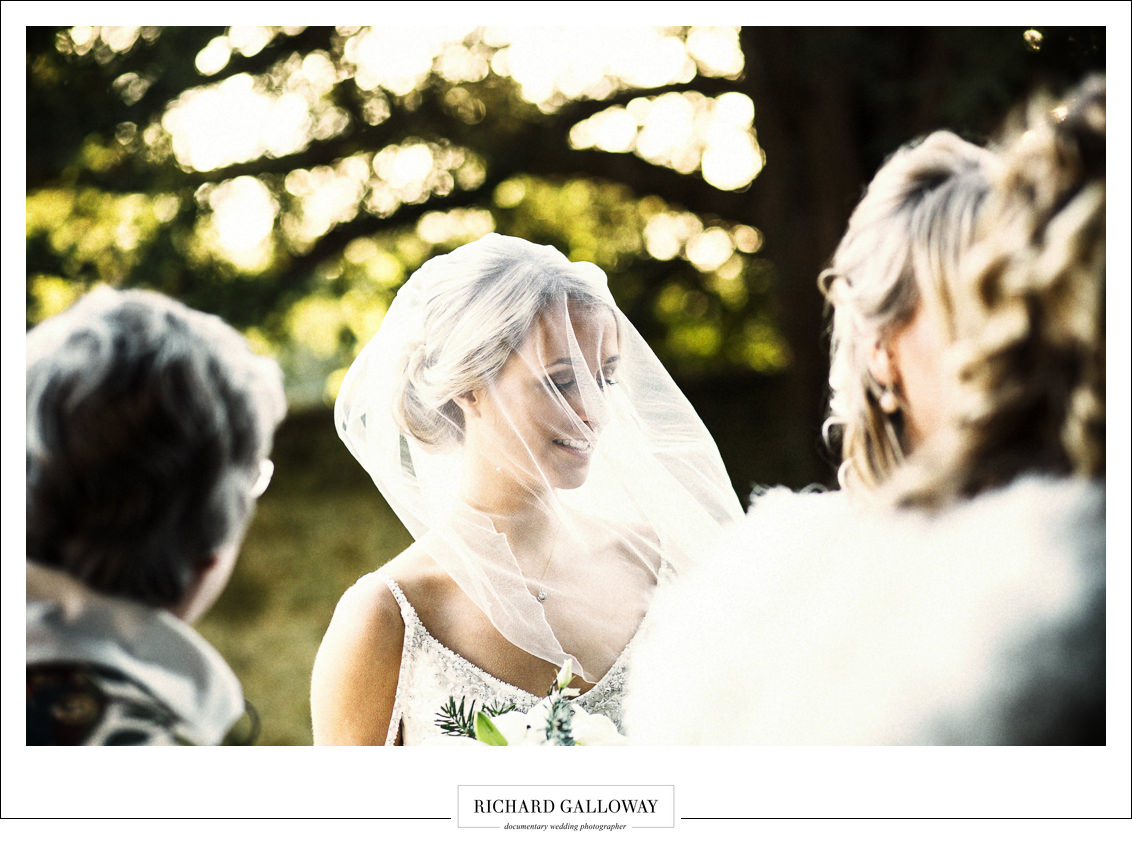 Wedding Photography Ramster Hall, Surrey Bride in the winter sunlight