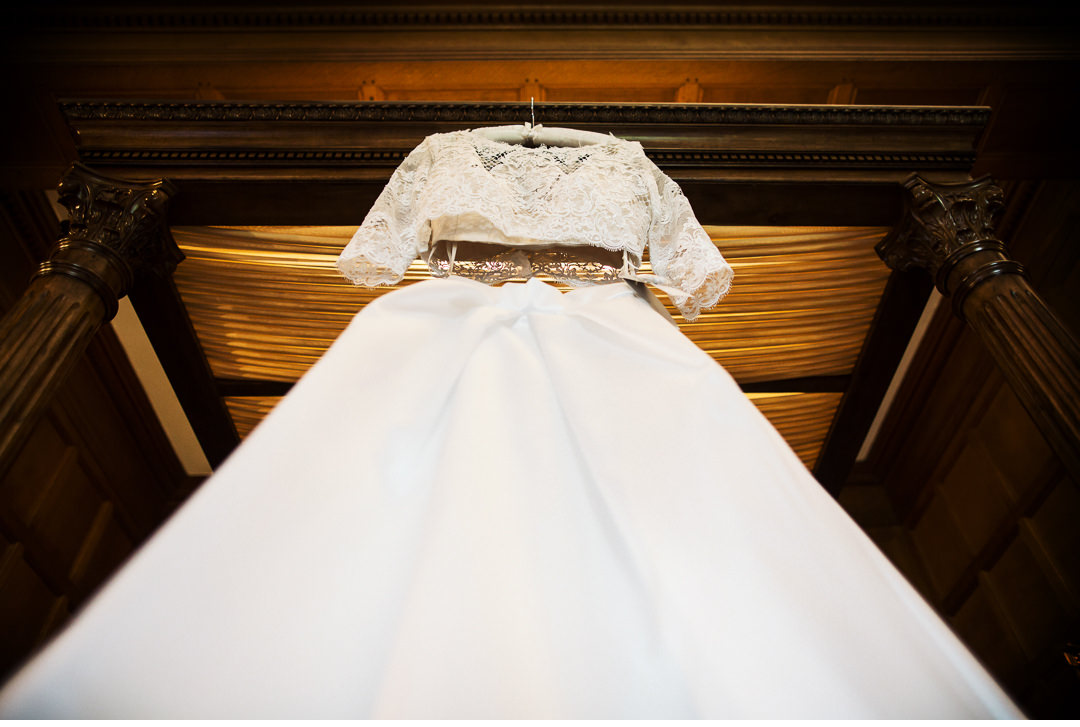 Dress hanging in Bridal Suite - Hengrave Hall