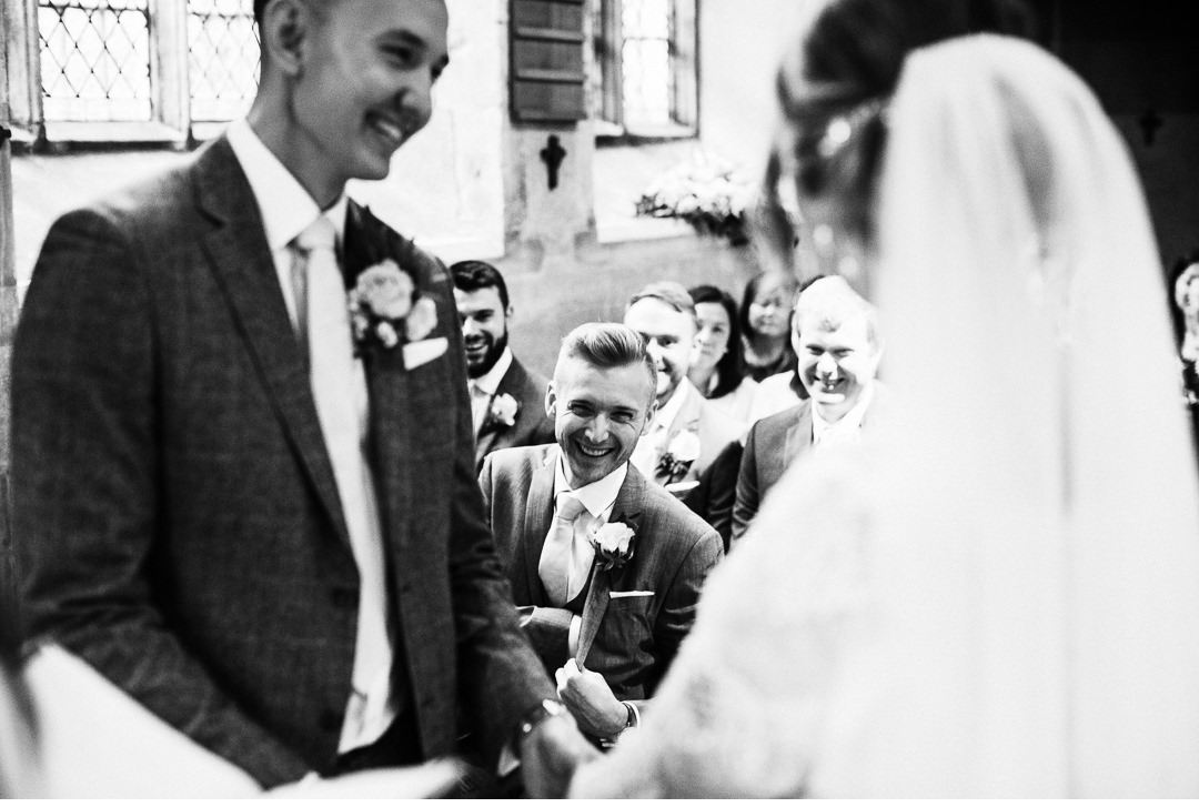 Wedding laughter at Hengrave Hall