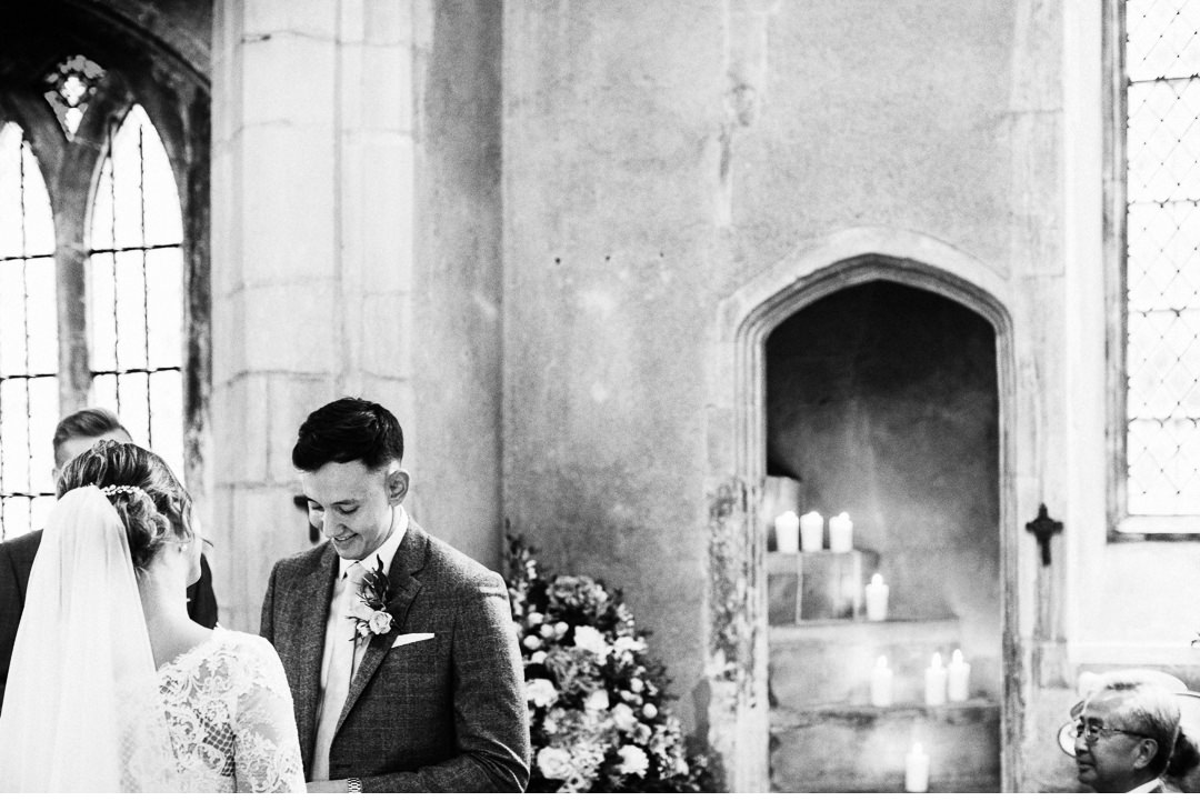 Wedding vows during a church ceremony