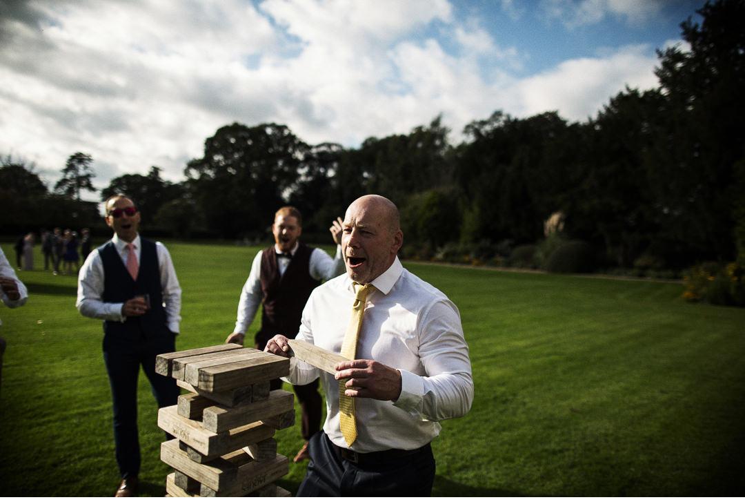 Giant Jenga during a wedding reception