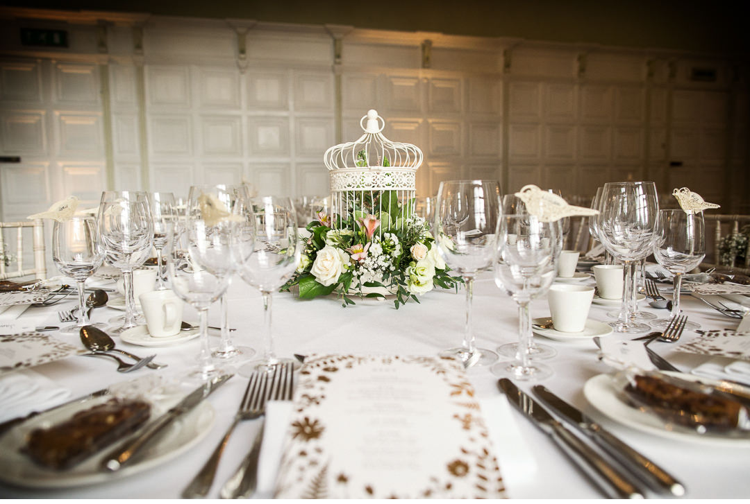 Wedding Table decorations at Hengrave Hall