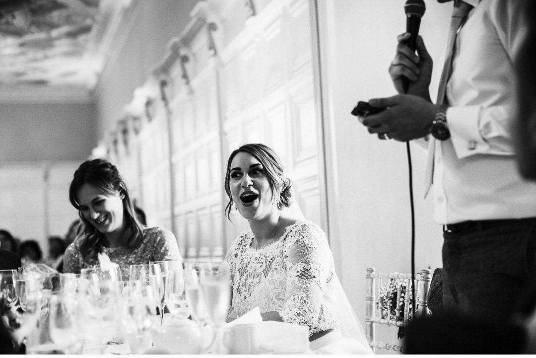 Bride's reaction to the Groom's speech