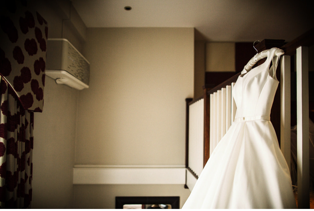 The Bridal Dress hanging up the Villiers Hotel