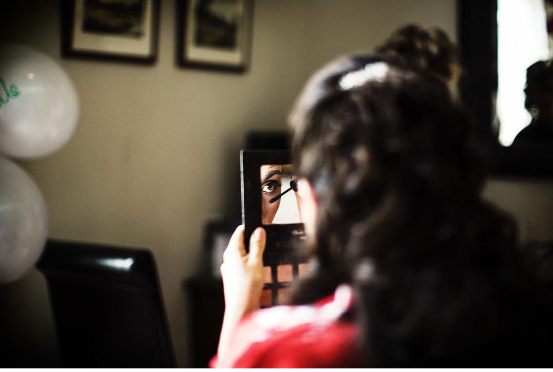 Bridal preparations and mirror shot