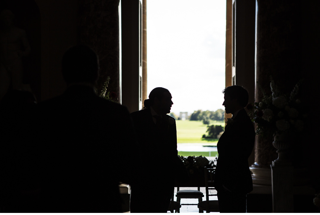 Silhouette of the Groom and Best Man