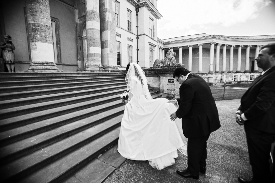 The Bride arrives on the front steps of Stowe House