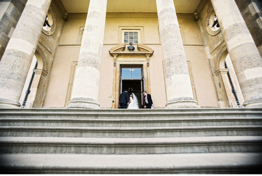 Just before the wedding ceremony at Stowe House school