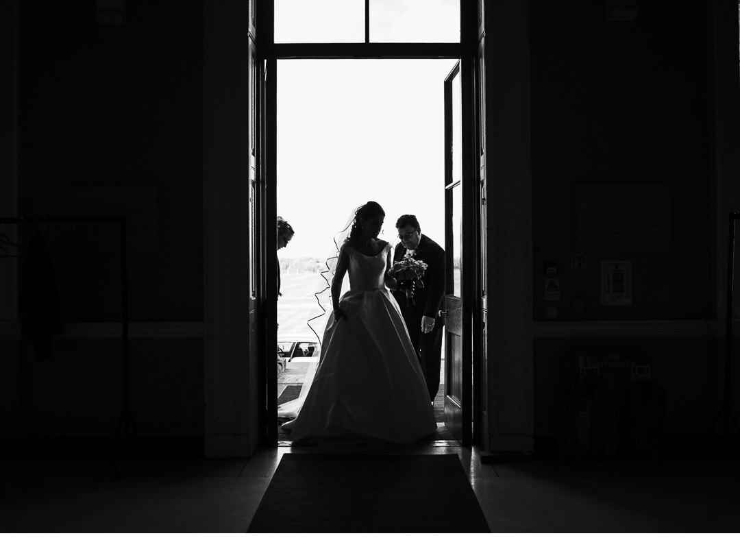 Silhouette of The Bride entering Stowe House
