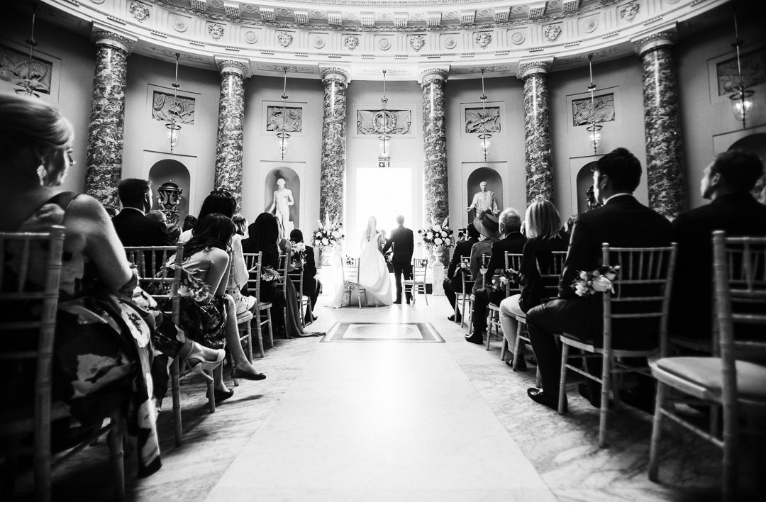 Black and white shot of Stowe House Wedding