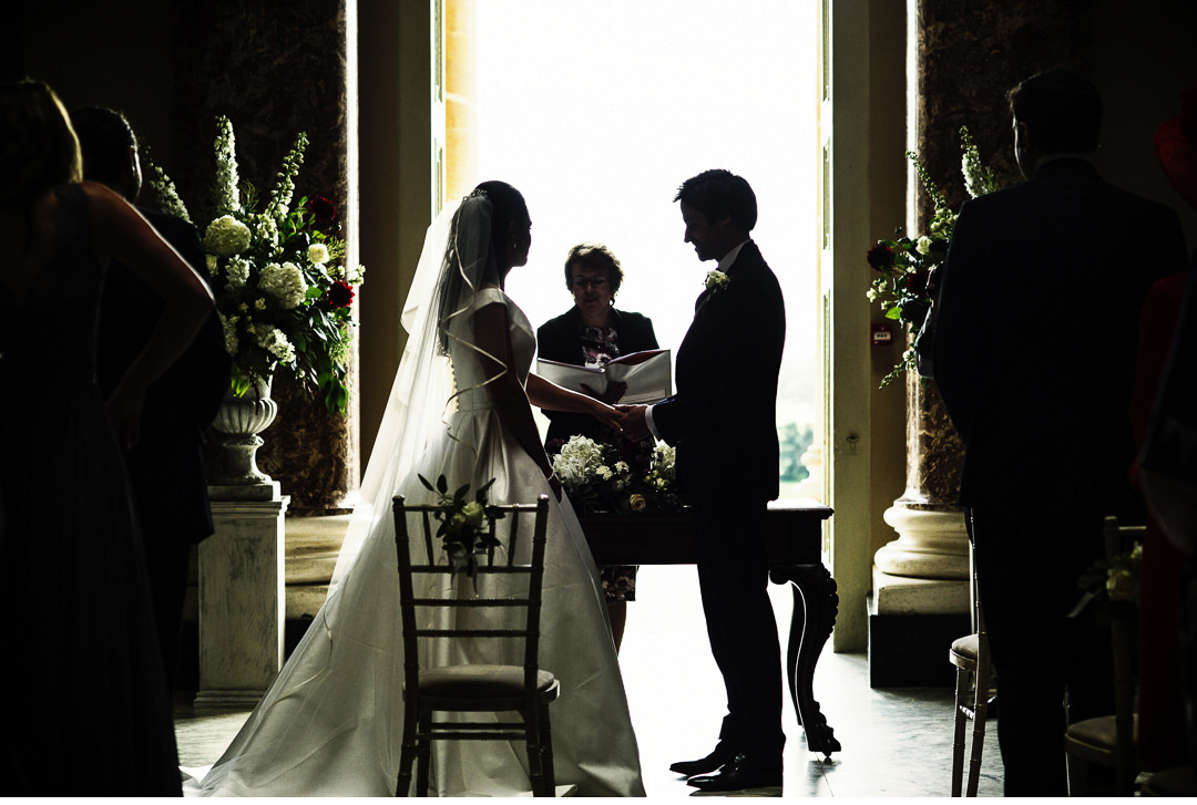 Exchanging vows at Stowe House