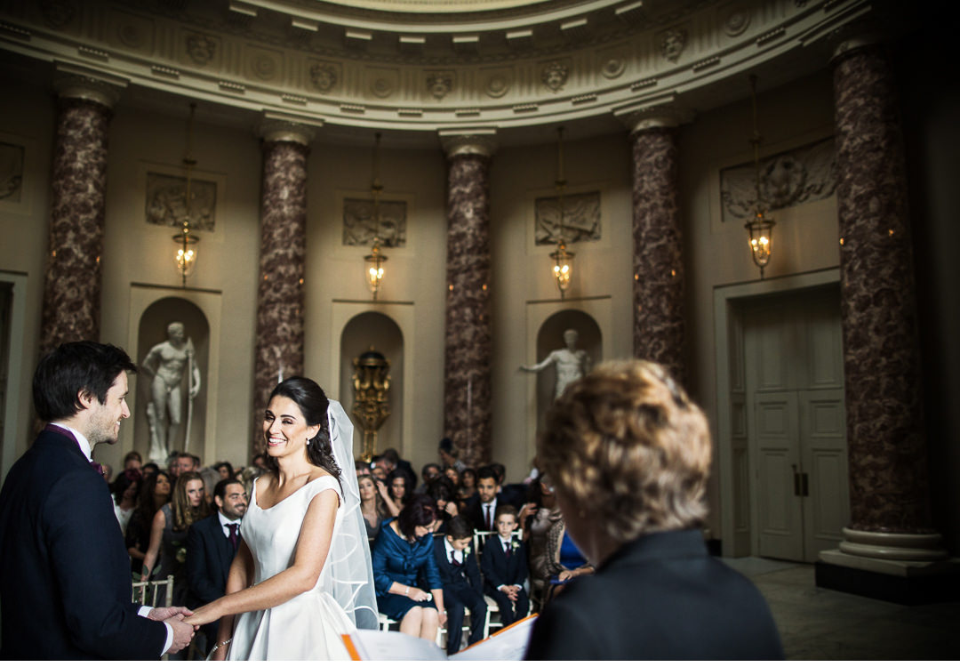 Wide angle shot of the couple during Stowe ceremony