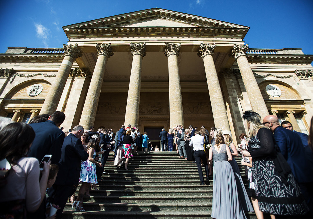 Stowe House South Portico and wedding guests