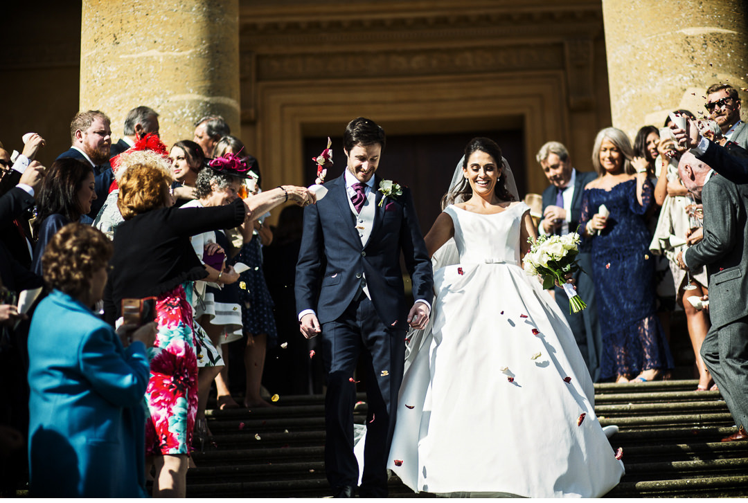 Confetti on the steps of Stowe House Wedding