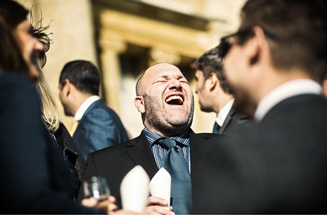 Wedding guests having fun, fish & chips