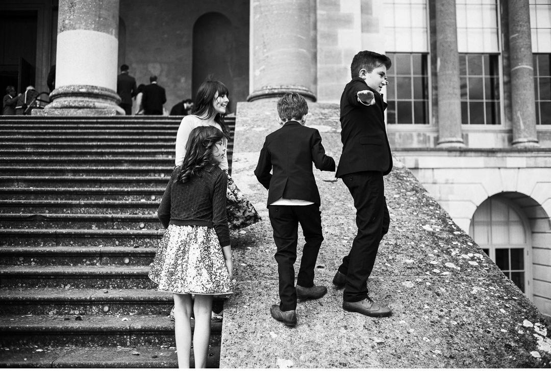 Kids being kids at wedding reception