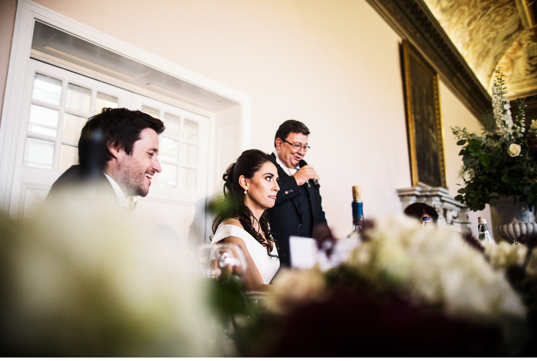 The Bride reacts to her father's speech