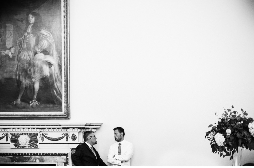 Black and white shot of guests at Stowe House