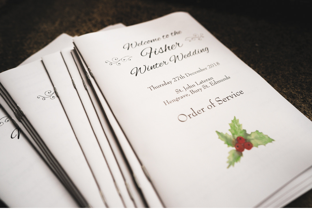 Wedding stationary - Order of service