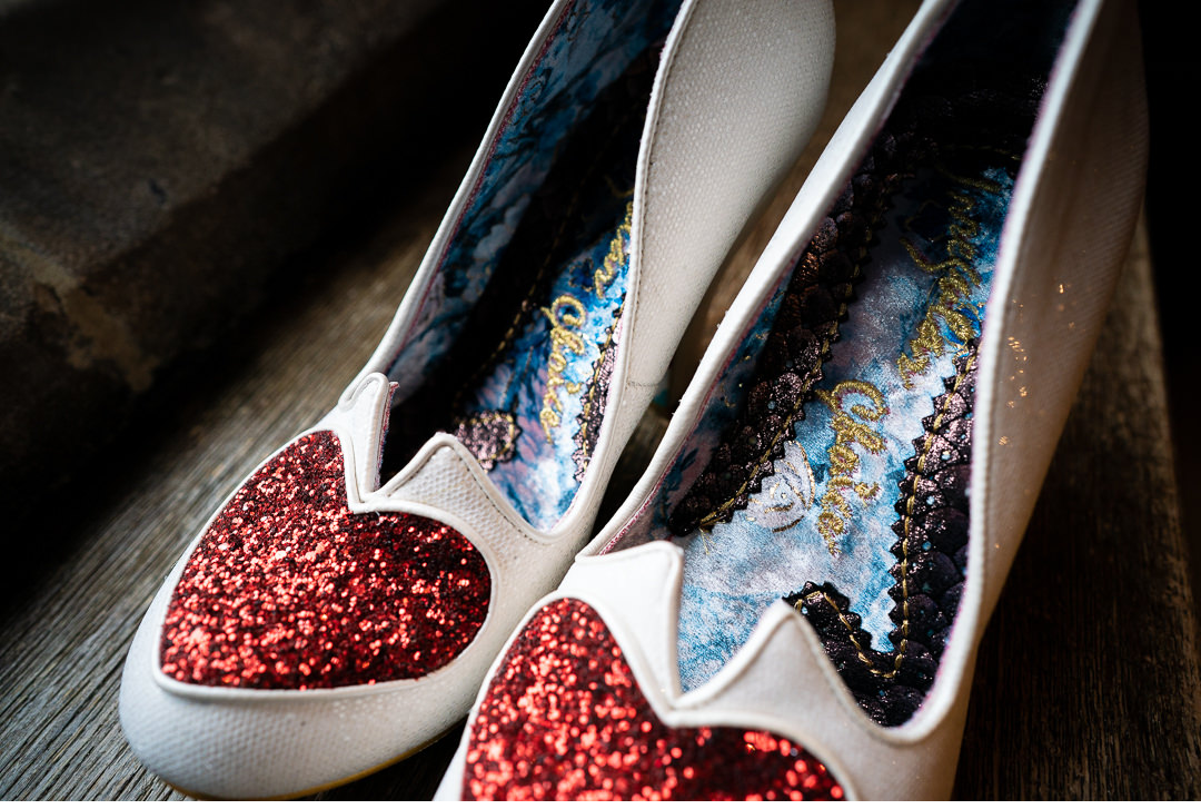 Colourful wedding bride's shoes