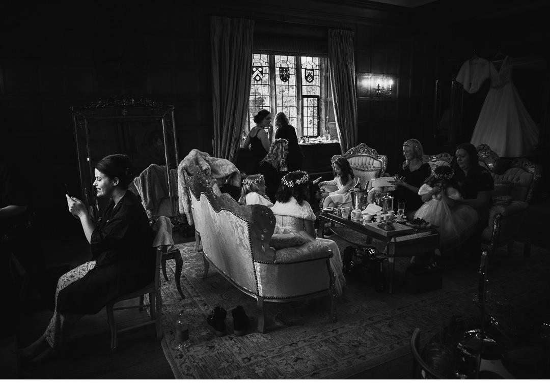 Bridal prep scene at Hengrave Hall