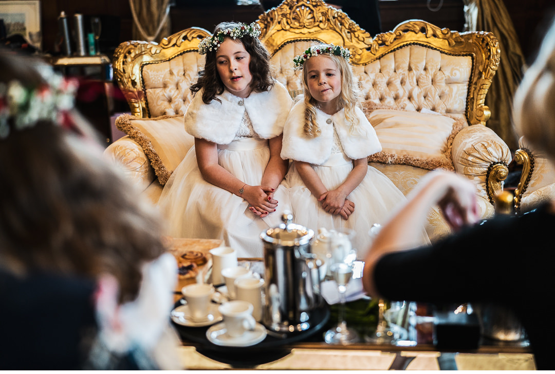Flowergirls in the Elizabethan Bridal Suite at Hengrave Hall