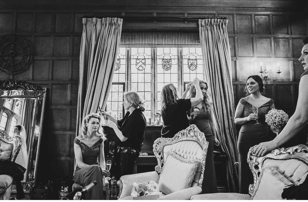 Bridesmaids getting ready at Hengrave Hall