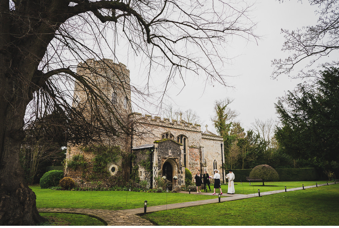 Guests arriving at Hengrave Hall church
