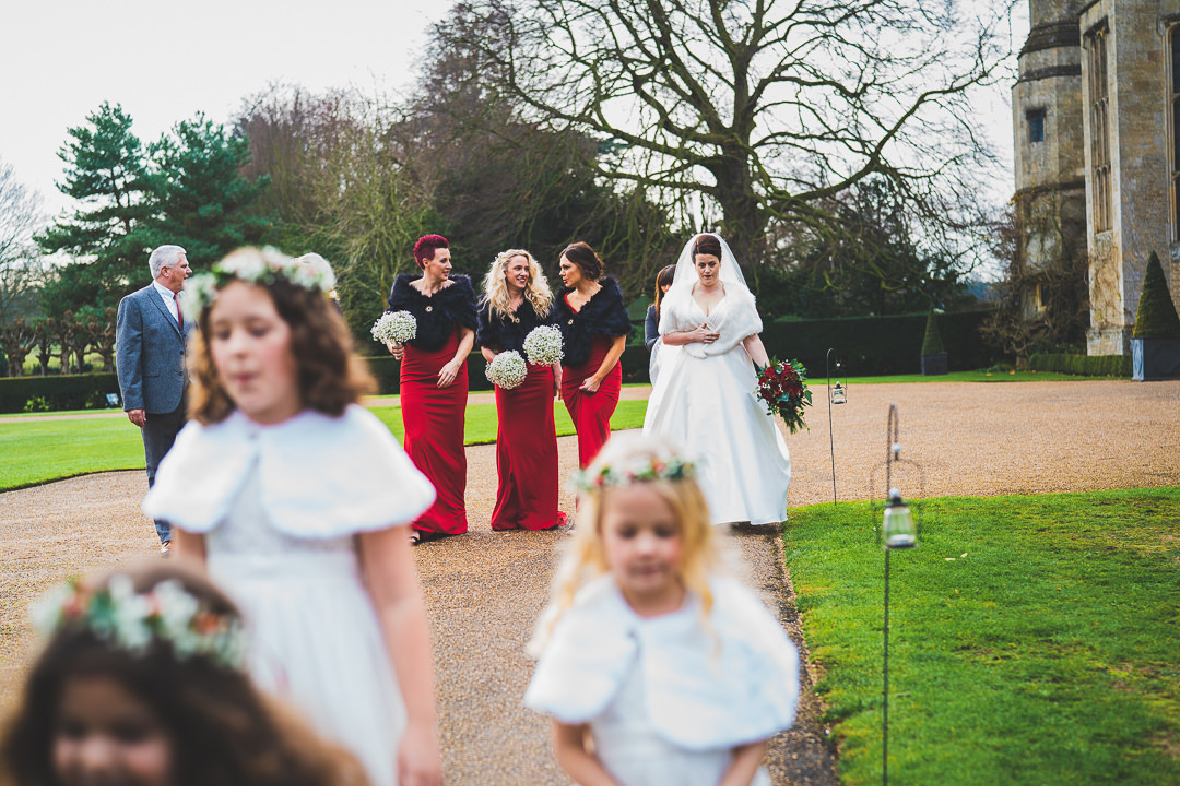 Bride and Bridesmaids on the way to Hengrave Hall church
