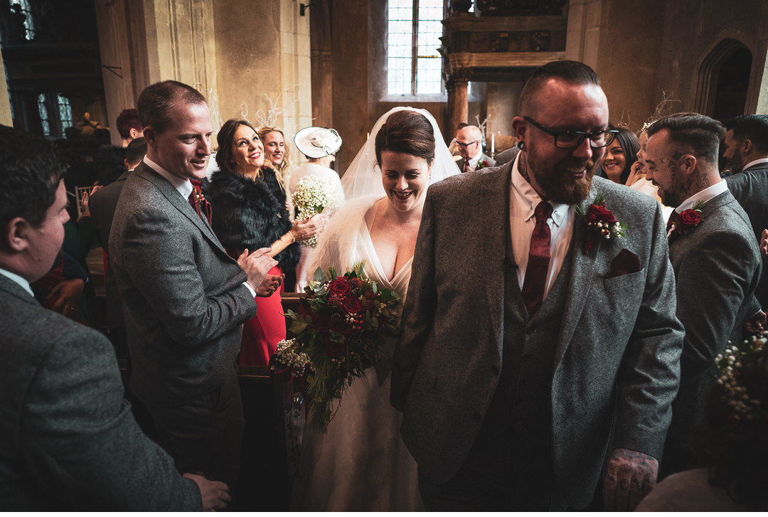 walking up the aisle at Hengrave Hall