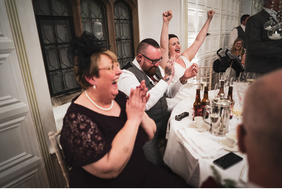 Bride and groom reactions during speeches