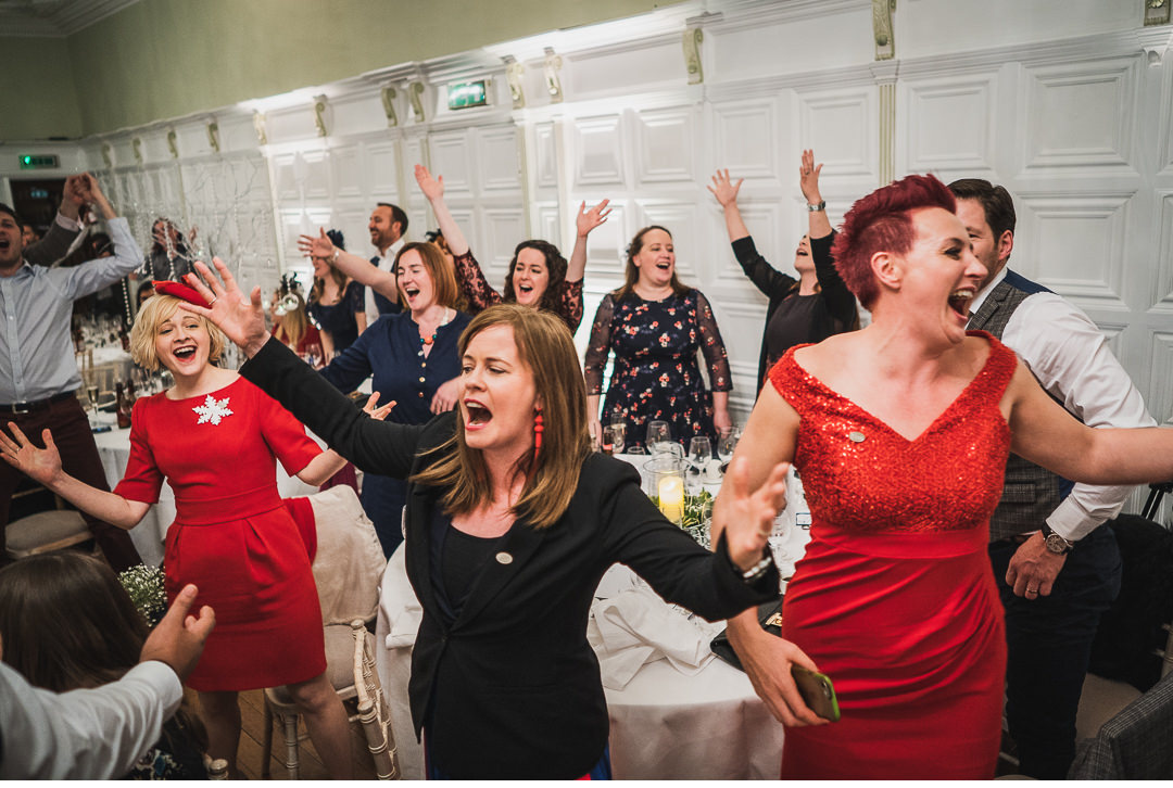 Flash mob during wedding dinner at Hengrave Hall