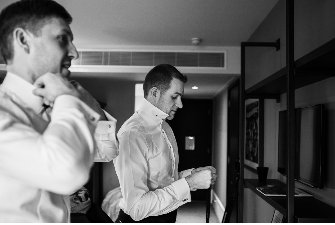 The Groom and groomsmen getting ready