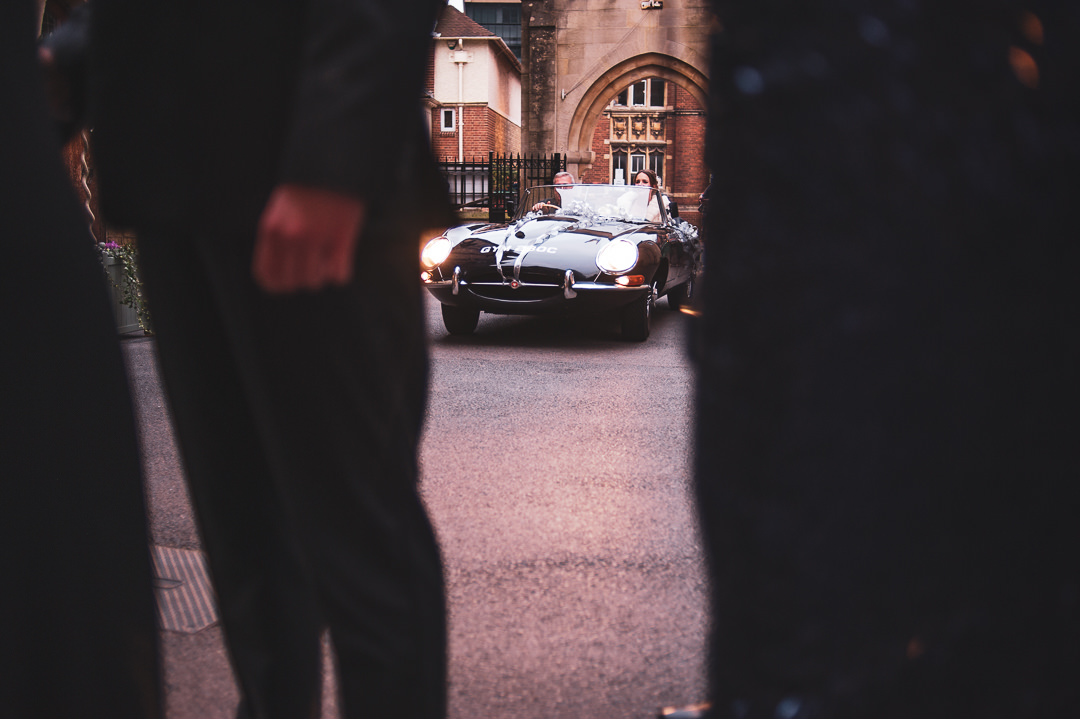 e-type jaguar arriving at the wedding