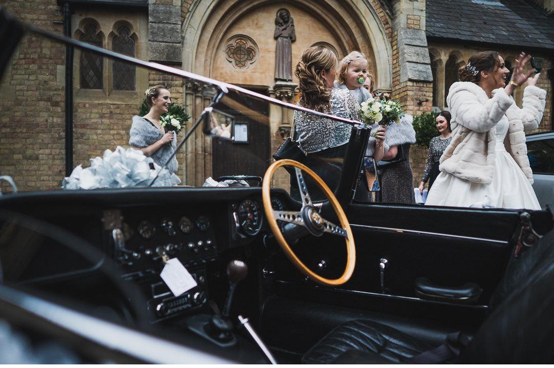 E-Type jaguar at the wedding