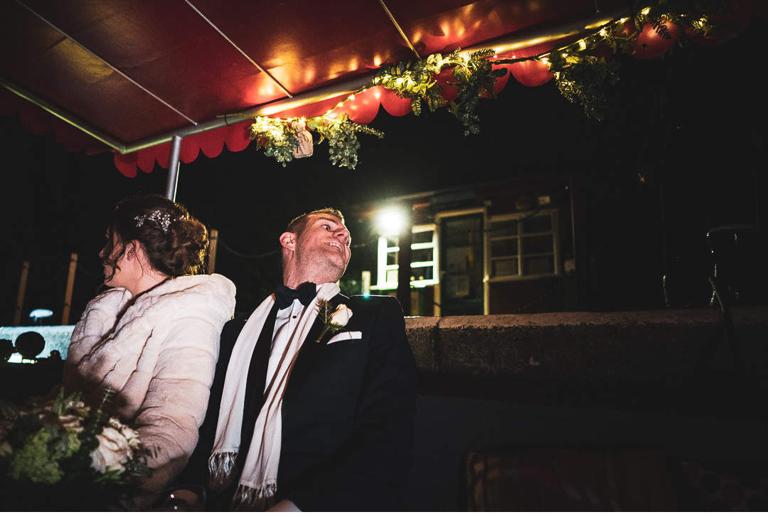 Bride and Groom taking a boat trip in Oxford