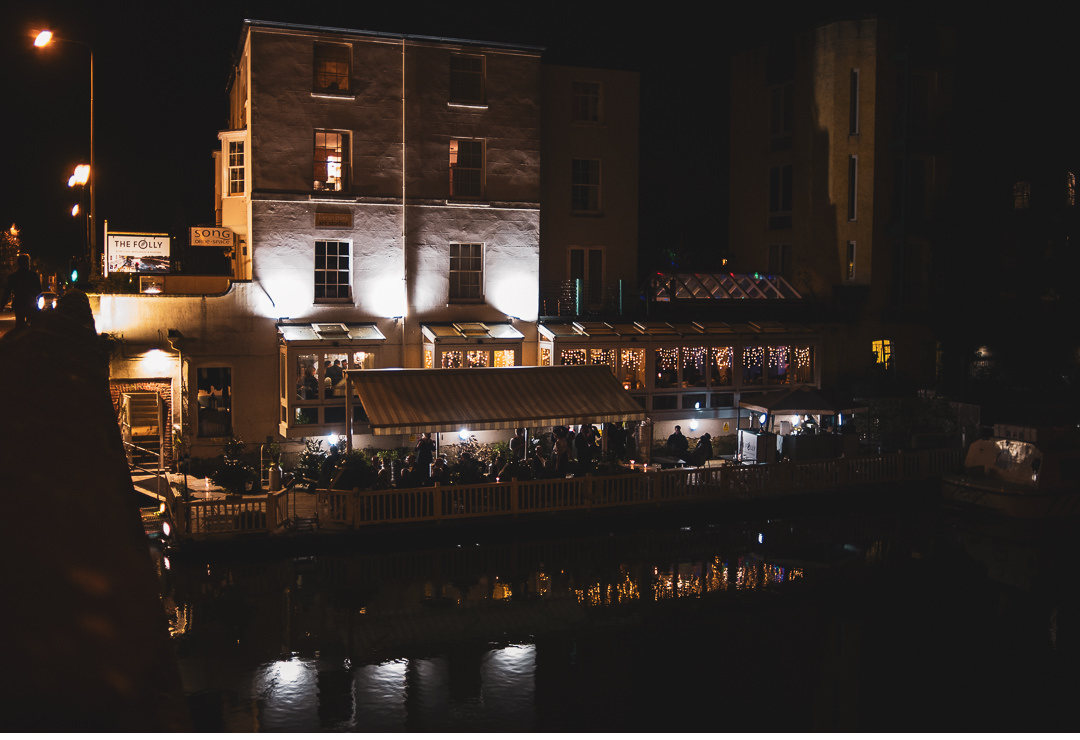 Night shot of The Folly Restaurant in Oxford