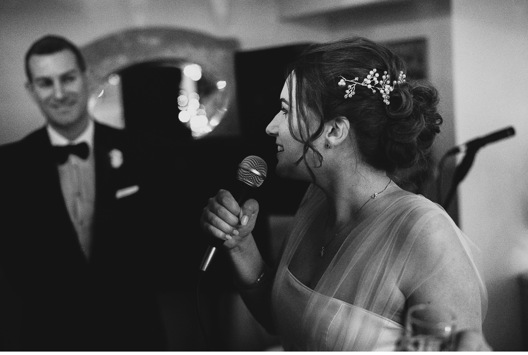 Bride making a wedding speech
