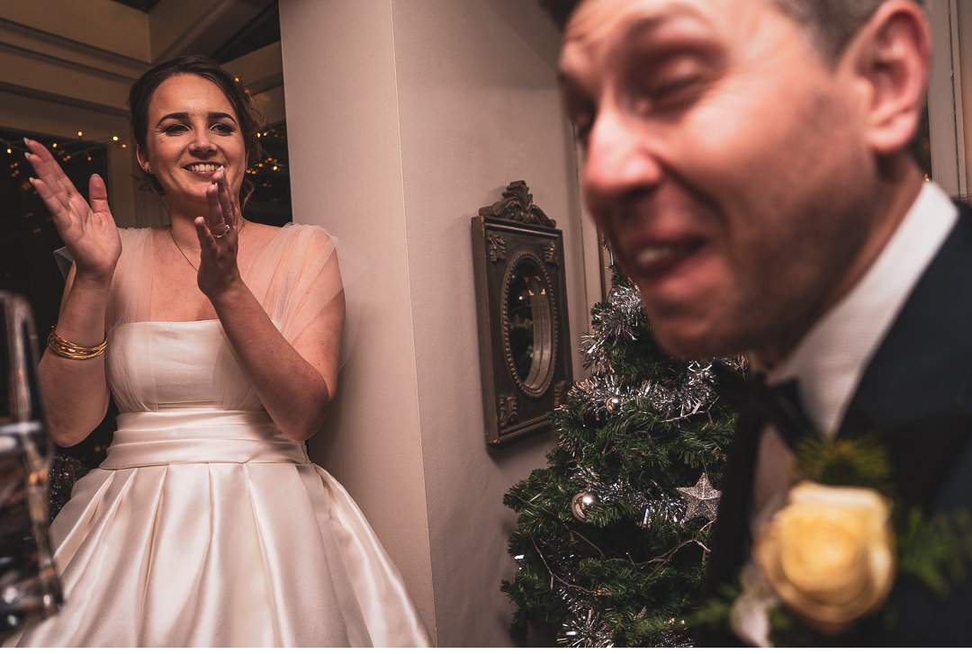 Vodka luge at wedding reception