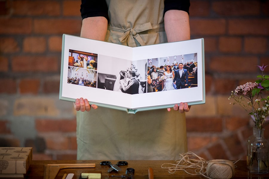 Hand crafted wedding albums