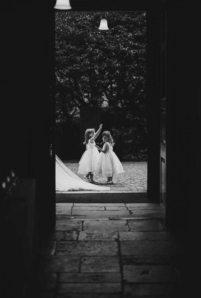 Flowergirls before a wedding ceremony