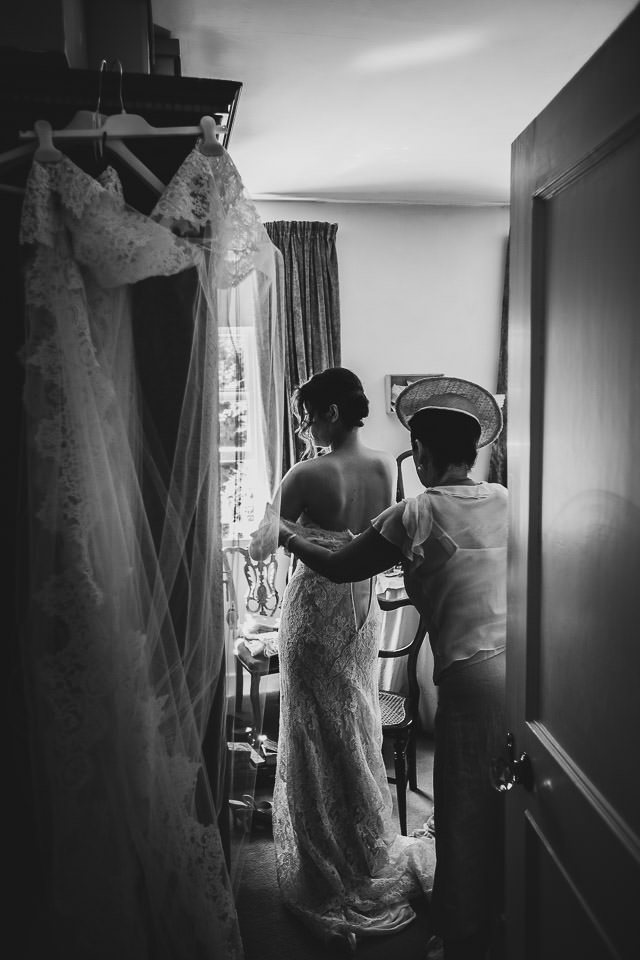 Mother and daughter during wedding prep