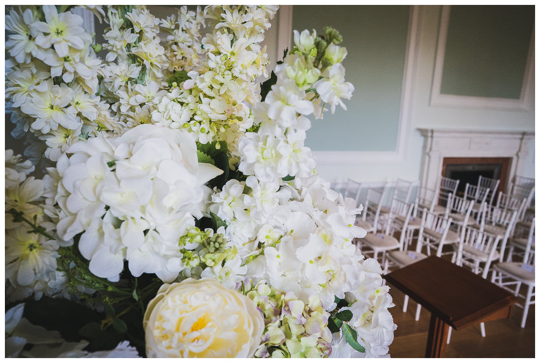 Botleys Mansion Wedding ceremony room flowers