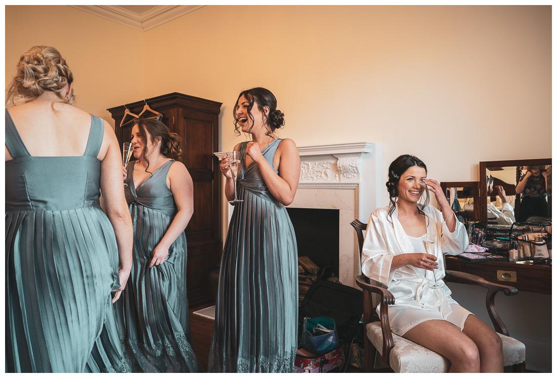 Bride and bridesmaids at Botleys Mansion Bridal suite