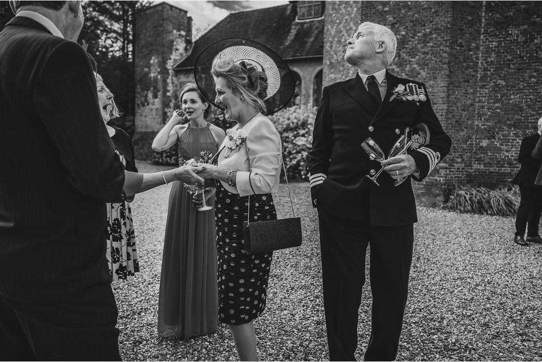 A wedding reception scene at Farnham Castle