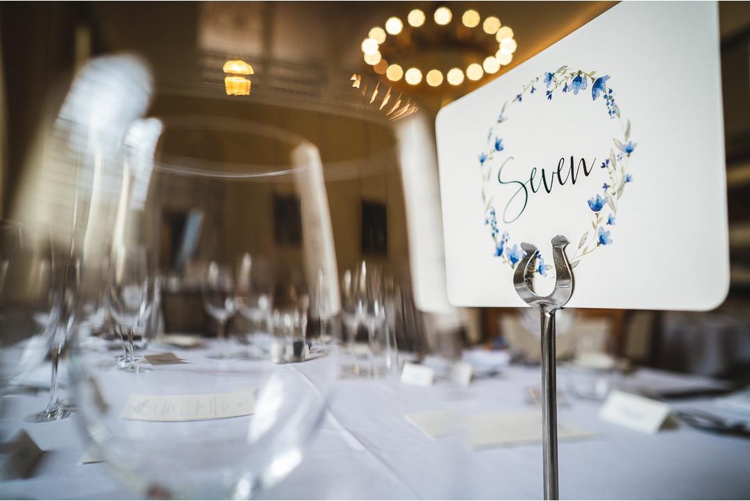 Wedding details at Farnham Castle dining room