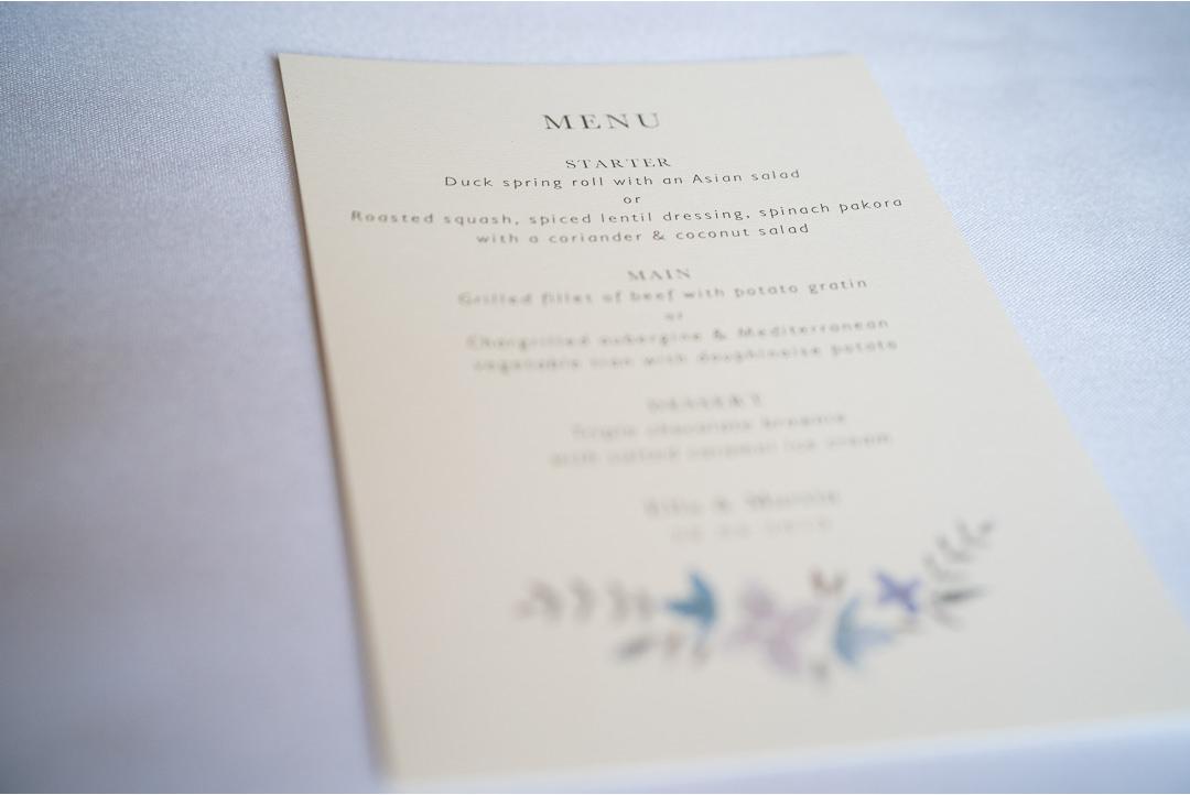 Wedding stationary menu