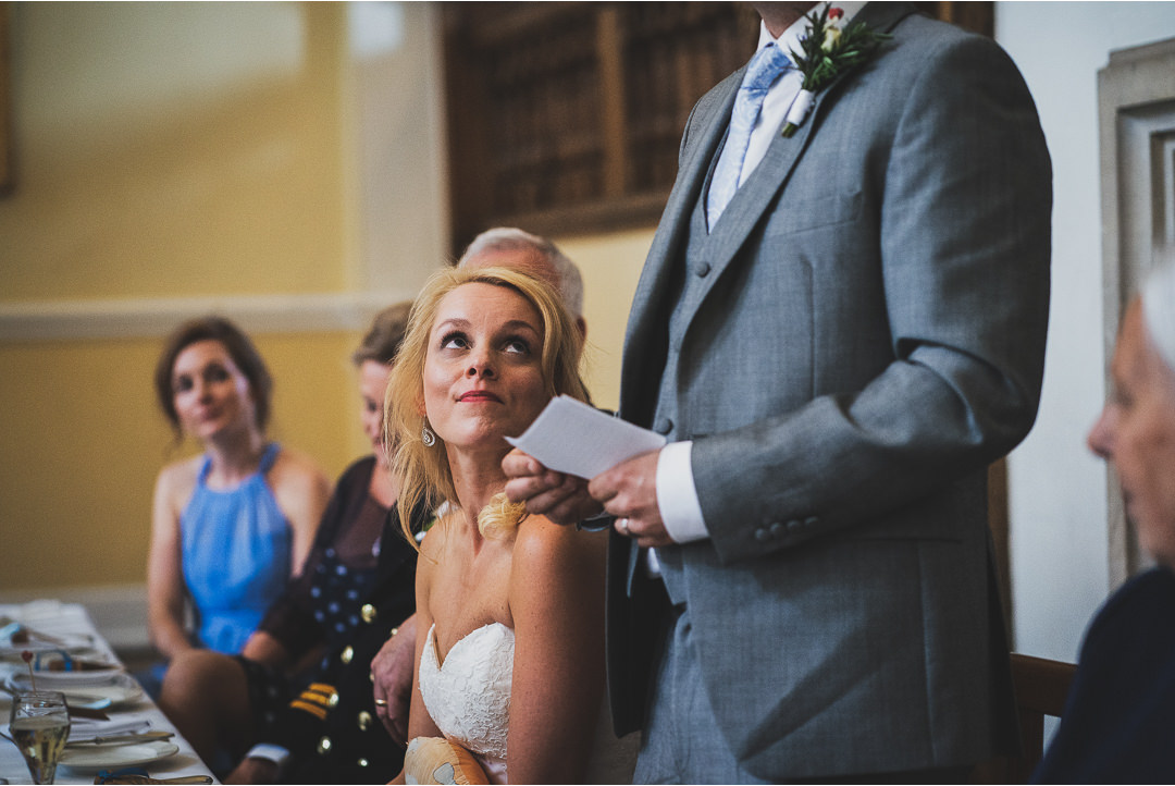 Bride's reaction during the Groom's speech