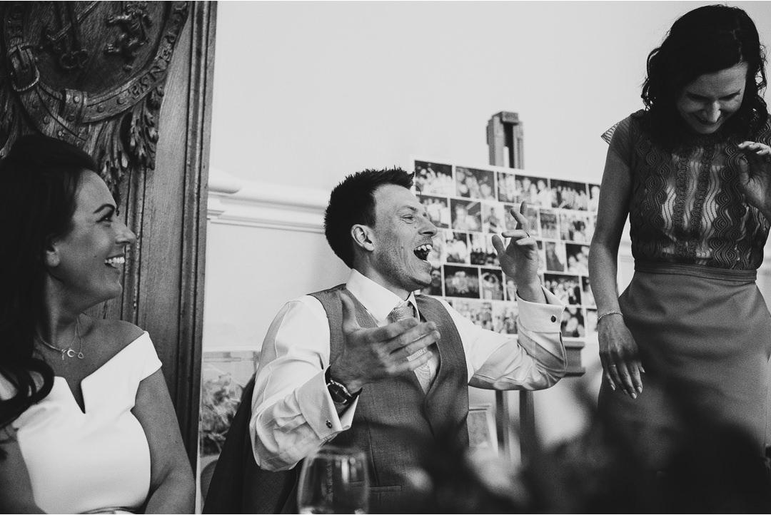 Friends having fun at Farnham Castle Wedding