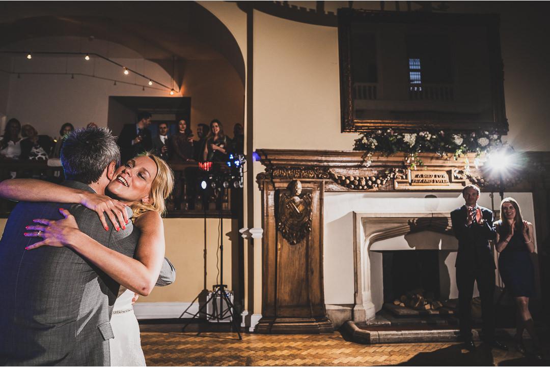 Hugs on the dance floor at Farnham Castle